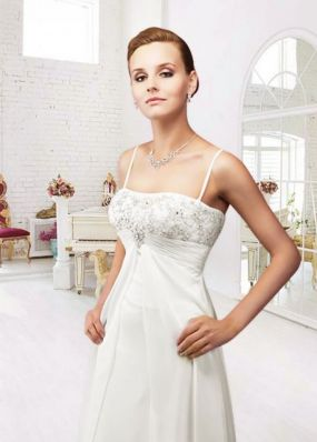 Свадебное шифоновое платье на бретельках NPV013