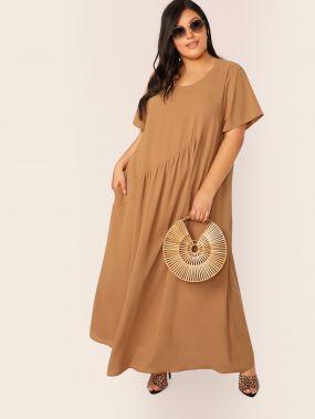 Длинное платье размера плюс с карманом
