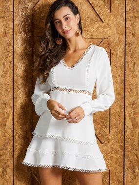 SBetro платье с кружевной отделкой и многослойными оборками