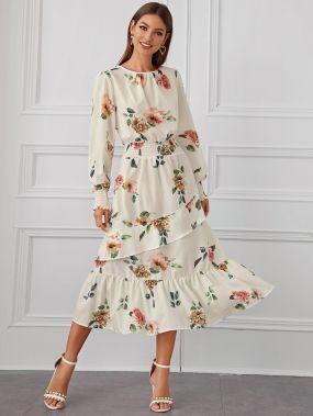 Платье с оборками, цветочным принтом и застежкой сзади