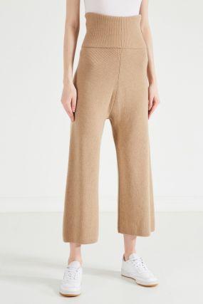 Бежевые брюки-кюлоты из шерсти