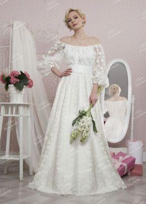 Cвадебное кружевное платье с открытыми плечами TB042 o