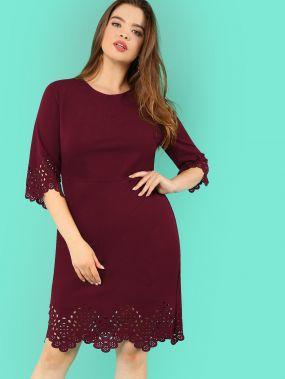 Размер плюс однотонное платье с ажурной отделкой