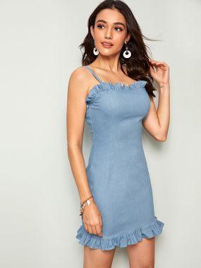 Джинсовое платье-комбинация с молнией сзади