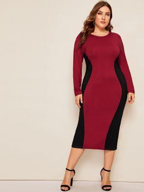 Двухцветное платье-карандаш размера плюс
