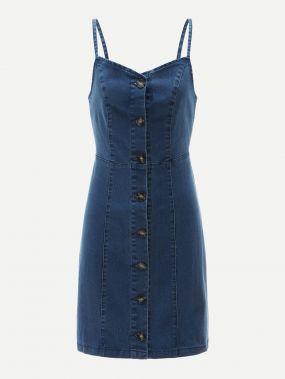 Однобортное джинсовое платье