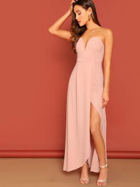 Платье длины макси без бретелек с разрезом на молнии сзади