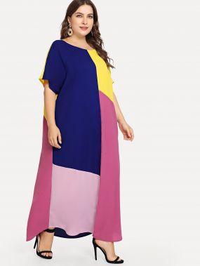 Плюс размеры контрастное платье