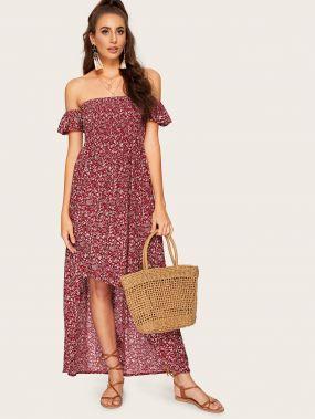 Асимметричное платье с открытыми плечами и цветочным принтом