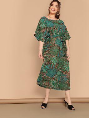 Размер плюс леопардовое платье с тропическим принтом
