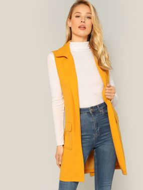 Пальто-жилет с поясом и клиновидным воротником