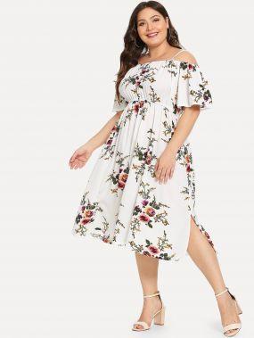 Плюс размеры платье с цветочным принтом