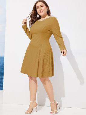Размер плюс вязаное ребристое платье с жемчугами