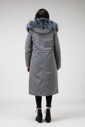Длинное демисезонное пальто на верблюжьей шерсти с чернобуркой