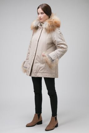 Женское утепленное полупальто с мехом лисы