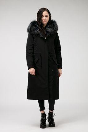 Пальто утепленное верблюжьей шерстью с чернобуркой