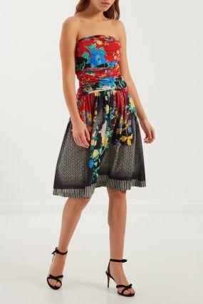 Платье-бюстье с комбинированным принтом