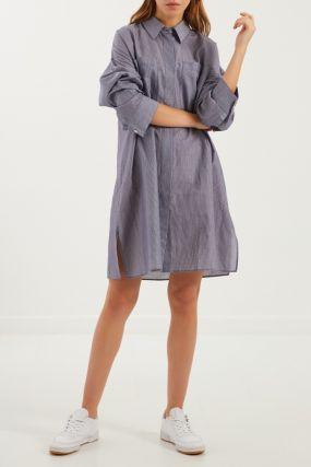 Хлопковое платье-рубашка в полоску
