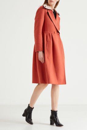Оранжевое кашемировое пальто