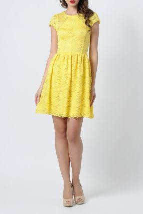 Ярко-желтое платье из кружевного полотна