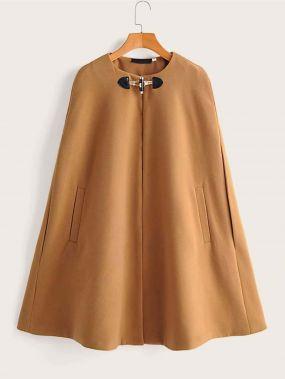 Твидовое пальто-кейп