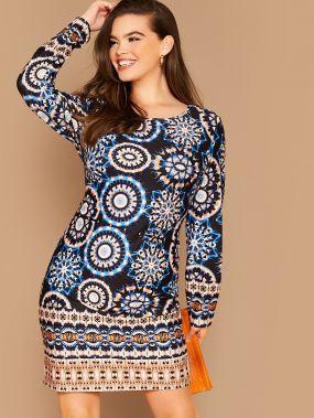 Платье размера плюс с племенным принтом