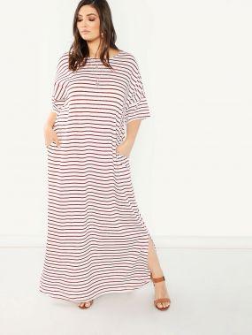 Размер плюс платье в полоску с вырезом и карманом