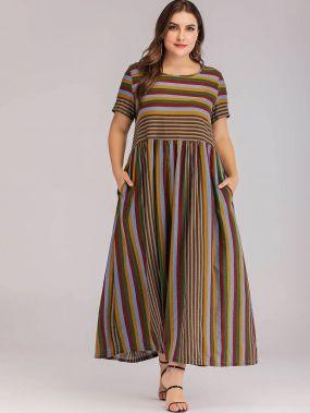Разноцветное полосатое длинное платье размера плюс