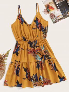 Платье на бретелях с оборками и цветочным принтом