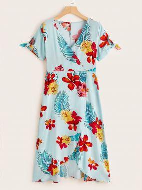 Платье с цветочным принтом и узлом на манжетах