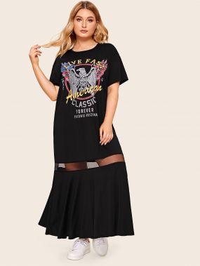 Платье со сетчатой вставкой и оригинальным принтом размера плюс