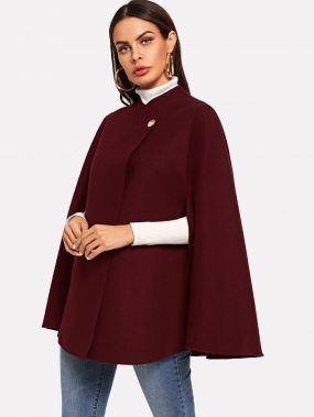 Однобортное пальто пончо