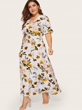 Размера плюс цветочное платье с оборкой на рукавах
