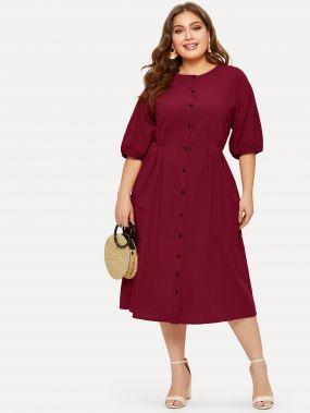Платье-рубашка размера плюс с пуговицами и карманом
