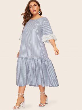 Размера плюс полосатое платье с контрастной вышивкой