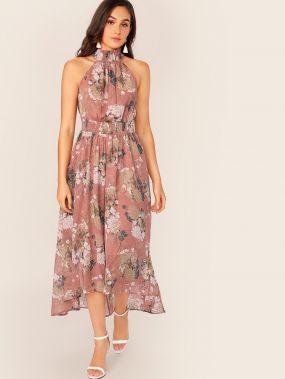 Асимметричное платье с цветочным принтом и халтером