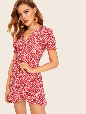 Платье с цветочным принтом и узлом