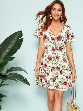 Платье с цветочным принтом и V-образным вырезом