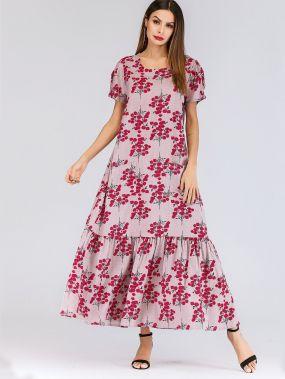 Розовые с воланами Цветочный принт Стиль кэжуал Платья