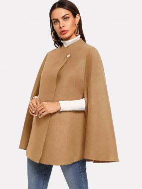 Однобортное пальто-пончо
