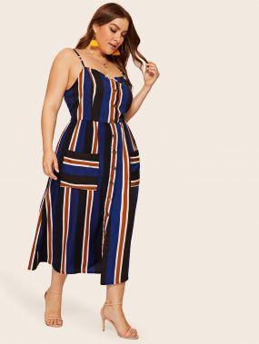Полосатое платье на бретелях с карманом размера плюс