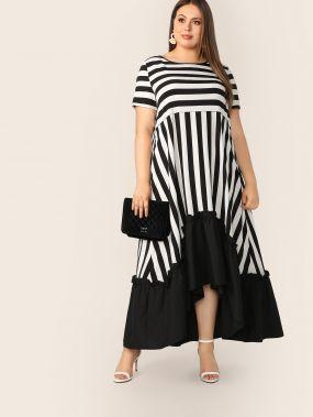Размер плюс асимметричное платье в полоску