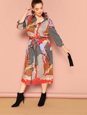 Размера плюс платье-рубашки с поясом и смешанным принтом