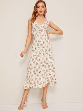 Платье-комбинация на запах с цветочным принтом