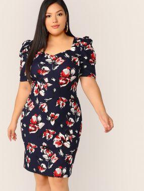 Платье размера плюс с пышными рукавами и цветочным принтом