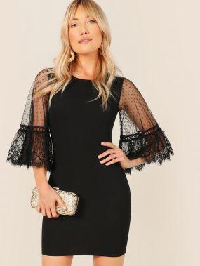 Облегающее платье со сетчатым рукавом в горошек и кружевной отделкой