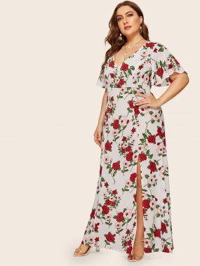 Длинное платье с цветочным принтом и разрезом размера плюс
