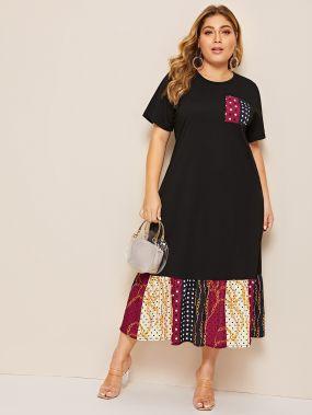 Платье размера плюс с графическим принтом