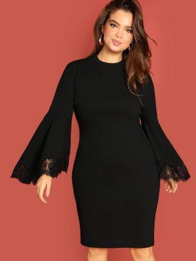 Плюс размера платье с кружевой отделкой