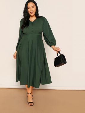 Размер плюс платье с v-образным вырезом и резинками на манжетах